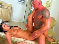 Lover ejaculates all over juicy tits of hot brunette Anissa Kate after fun in bathroom 6