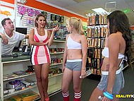 Two playful cheerleaders are ready to lick balls and suck dickhead of cashier for money in his store 4