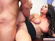 Man forgets about his job duties and fucks frolicsome brunette with seductive shapes in office 11