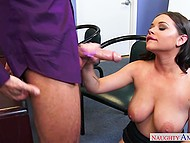 Man forgets about his job duties and fucks frolicsome brunette with seductive shapes in office 4