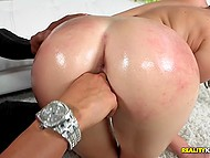 Dude admires adorable brunette chick, smears her body with oil, and fingers juicy twat 9