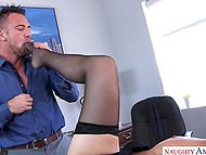 Temptress persuades athletic colleague to have sex right in the office instead of lunch 5
