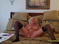 Mature housewife decided to play with vibrators on camera for personal video collection