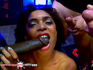 German Ebony slut has fun with several partners in same time as she loves to be drilled well