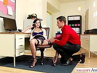 Office slut Marley Brinx interrupts phone conversation because of unexpected sex with co-worker 4