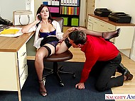 Office slut Marley Brinx interrupts phone conversation because of unexpected sex with co-worker 7