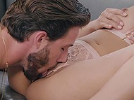 Asian hottie and her white boyfriend make love till he is ready to ejaculate on her cute face 4