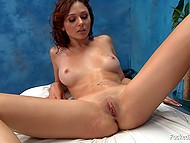 Husband doesn't know wife gets penetrated by another man on the massage table at work 5