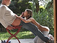 Bald man relaxes outdoors with tiny girl Gina Gerson who loves to ride massive dicks