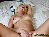 Experienced blonde during summer vacation let young lover fuck her bald pussy in bed 7