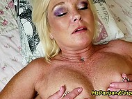 Experienced blonde during summer vacation let young lover fuck her bald pussy in bed 9
