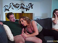 Luxurious MILF joins stepson and his cute girlfriend while they were relaxing on the couch 6