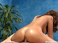 Pretty masseuse actively jumps on client's dick until buddy is ready to facialize her 3