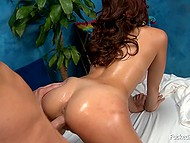 Vigorous client stretches pussy of Latina masseuse Ariana Marie with cock and her sexual needs will be satisfied 4