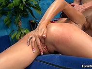 Vigorous client stretches pussy of Latina masseuse Ariana Marie with cock and her sexual needs will be satisfied 9