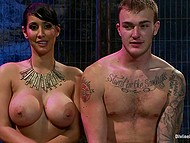 After squirting busty Latina Isis Love rides cock and smears mask of submissive guy with cum 10