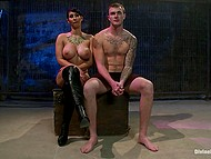 After squirting busty Latina Isis Love rides cock and smears mask of submissive guy with cum 11