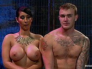 After squirting busty Latina Isis Love rides cock and smears mask of submissive guy with cum 8