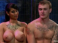 After squirting busty Latina Isis Love rides cock and smears mask of submissive guy with cum 9