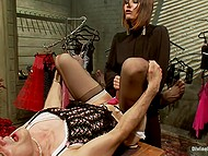 Femdom video where man dressed like a girl receives handjob and dominant lady fucks his ass using strapon 11