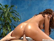 Man is a loyal client and masseuse with juicy breasts makes a gift to him riding hard cock 11
