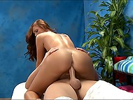 Man is a loyal client and masseuse with juicy breasts makes a gift to him riding hard cock 4
