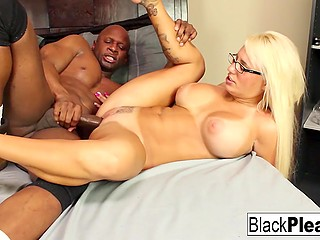 Hot blonde Jacky Joy with sizable breasts is pussyfucked by black man who creampies her