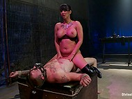 Hard penis for riding is the only thing that busty Latina Isis Love needs from tied up slave in mask