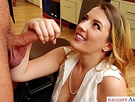 Young secretary with beautiful face finds out that bearded boss is excited and gives him blowjob 10