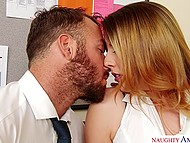 Young secretary with beautiful face finds out that bearded boss is excited and gives him blowjob 4