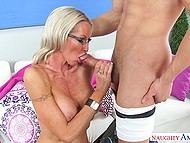 It is Latin boy's lucky day because he licks pussy of mature teacher and woman blows his penis 10