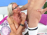 It is Latin boy's lucky day because he licks pussy of mature teacher and woman blows his penis 11