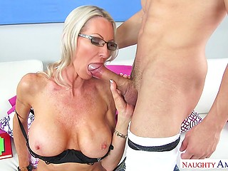 It is Latin boy's lucky day because he licks pussy of mature teacher and woman blows his penis