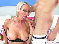 It is Latin boy's lucky day because he licks pussy of mature teacher and woman blows his penis 9