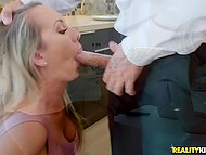Waiter is so sick of demanding bitch Brett Rossi that treats her mouth and cunt with cock when she comes in kitchen 5