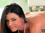 Brunette MILF India Summer gives her darling good blowjob then lovers try doggystyle sex 7