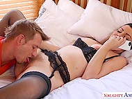 Unfaithful wife Sovereign Syre with red lips enjoys pussylicking by lover and sucks guy's cock 4