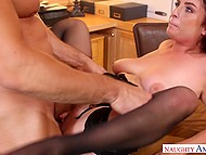 Pumped office employee needs to gain favor of boss with red hair and fucking will help him 8