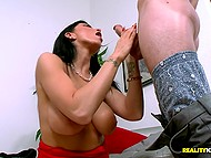 Employee fucks amazing boss Romi Rain from behind after she gives him blowjob and tittyfucking 6