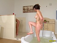 Excited brunette lesbians take decision to lick pussies and practice scissoring right in the bathtub 10