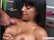 New employee should satisfy all dirty sexual needs of the buxom Latina colleague to save his job 11