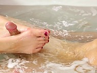 Busty cougar knows how to excite young man in bathtub with her feet, hands, and mouth 4