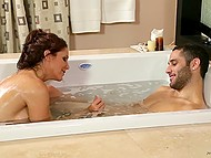 Busty cougar knows how to excite young man in bathtub with her feet, hands, and mouth 5