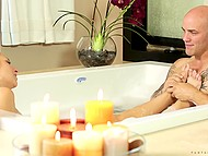 Powerful bald bull with a lot of tattoos enjoys romantic date with sweet thing in bathtub 11