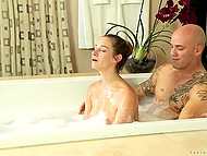 Powerful bald bull with a lot of tattoos enjoys romantic date with sweet thing in bathtub 9