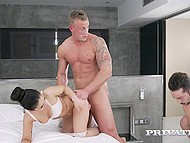Athletic man drills sexy housemaid from behind and doesn't mind if her fucker joins them 7
