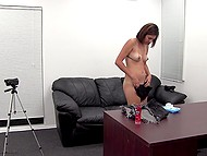 Sex audition in director's cabinet culminates for slender candidate with anal creampie 10