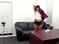 Sex audition in director's cabinet culminates for slender candidate with anal creampie 11