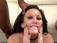 Dazzling brunette Jennifer White comes to black men and tries interracial gangbang 11