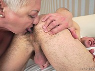 Short-haired old lady wants to gladden young fucker and licks guy's hairy anus during sex